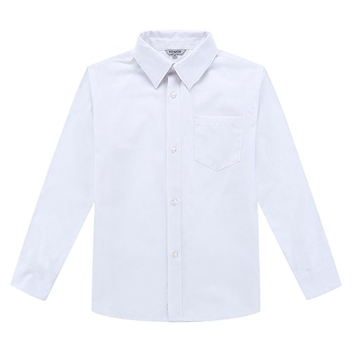 Bienzoe Jungen Schuluniform Lange Ärmel Knopf Unten Oxford Hemd Weiß Größe 8