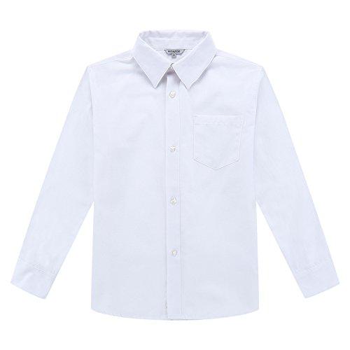 Bienzoe Jungen Schuluniform Lange Ärmel Knopf Unten Oxford Hemd Weiß Größe 12