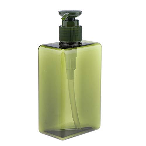 Milageto Botella de Espray de Bomba Recargable Vacía de 1 Pieza, Contenedor de Loción de Champú de Viaje, 280 Ml - Verde Oscuro, Individual