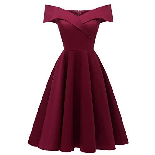 Lulupi Vintage Kleid Damen, 1950er Elegant Cocktailkleid Brautjungfernkleider für Hochzeit Kurzes A-Linie Abendkleider