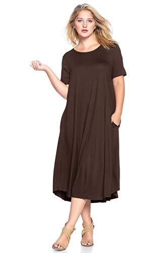Modern Kiwi Plus Size Short Sleeve Flowy A-Line Pocket Midi Maxi Dress Brown 4X