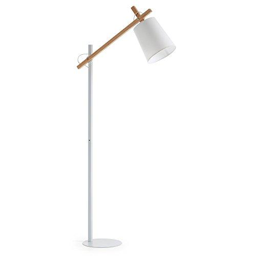 Kave Home - Lámpara de pie Kosta blanca de acero, madera de haya y algodón 100%