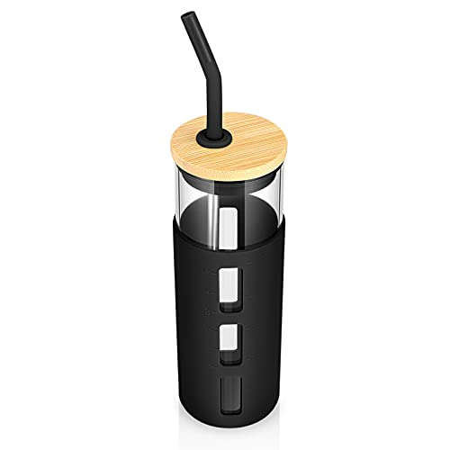 tronco 24oz Glass Tumbler Glass Water Bottle Straw Silicone Sleeve Bamboo Lid - BPA Free(Black)