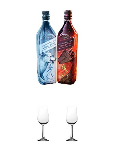 Johnnie Walker FIRE + ICE Limitierte Edition Game of Thrones Je 1 Flasche + Nosing Gläser Kelchglas Bugatti 2 Stück
