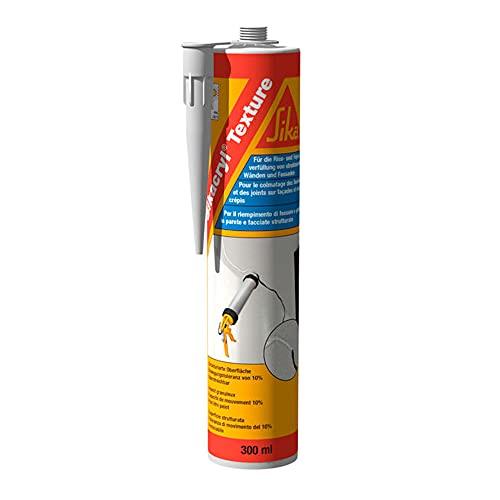 Sika Cryl Texture - Sellador efecto yeso, sellado de juntas en fachadas con superficie enlucido para rellenar huecos y huecos de paredes y techos, uso interior y exterior, blanco, 300 ml