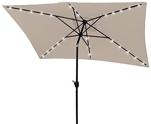 HENG FENG 10×6.5FT Outdoor Rectangular Solar Powered 26LED Lighted Patio Umbrella Table Market Umbrella with Push Button Tilt and Crank, Beige