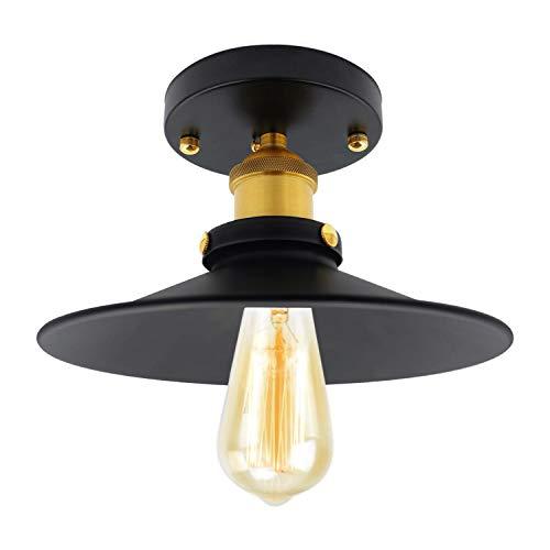Lámpara de techo Light, estilo retro, industrial, metal negro, bronce, plafón industrial de metal negro, jaula cuadrada, habitación, lámpara colgante jaula cubo, lámpara E27 para café, pasillo, porche