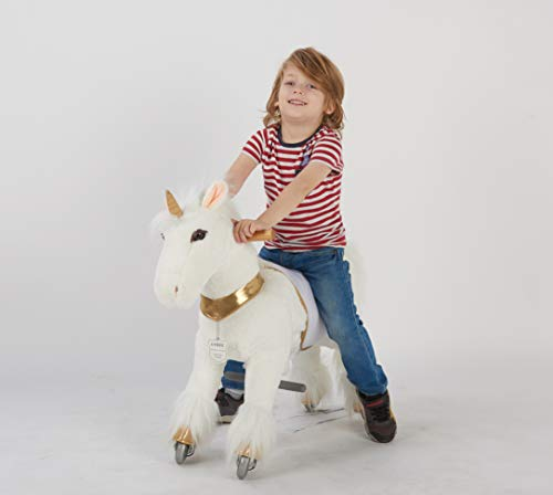 UFREE Ride on Pony for kids, 3 to 6 years old or up to 121 lbs, Soft and Plush Walking Horse, Small Unicorn with Golden Horn