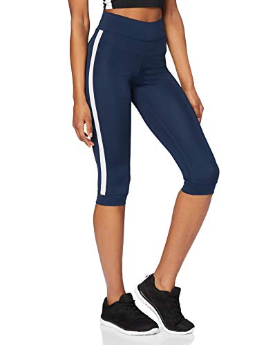 Marca Amazon - AURIQUE Leggings de Deporte con Banda Lateral Estilo Capri Mujer, Azul (Dress Blue), 36, Label:XS