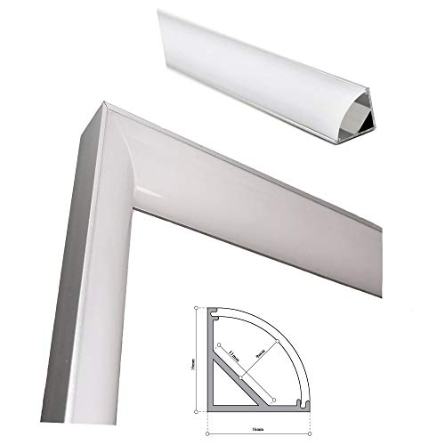 Perfil de aluminio para LED tira forma de L con difusor opaco PACK 2 piezas cortadas a 45º angular formando esquina de 90º interior,barra disipador en angulo de 90º en tiras de 150mm