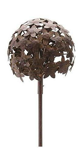 Wunderschöner & Hochwertiger Gartenstecker – Rost Blume/Blumenstecker – Große Auswahl – Edelrost Dekoblume – Metall Gartendeko (Allium 3D - Ø 16cm)