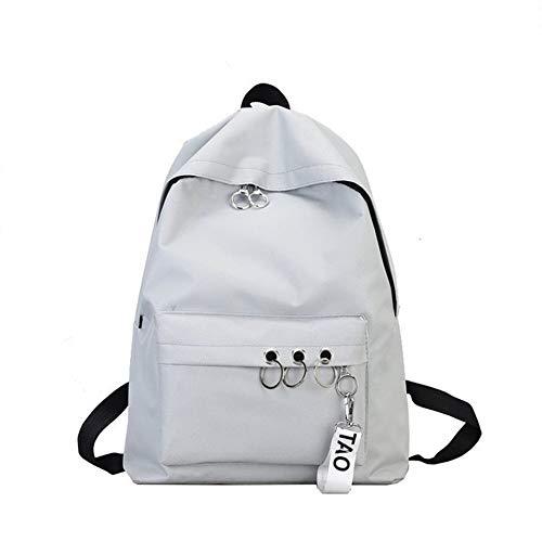 Gaoominy Einfache L?Ssige Rucksack Einfarbig Schulter Computertasche M?Nner und Frauen Leinwand College-Stil Schultasche Grau