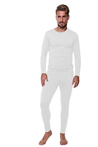 Conjunto de Ropa Interior térmica para Hombre; Capa Base; Forro Polar Suave de Peso Medio; Camiseta cálida de Manga Larga y Calzoncillos Largos
