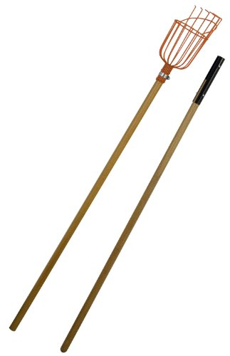 Flexrake LRB189 Fruit Picker with 8-Foot 2-Piece Wood Handle