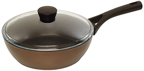 Pyrex 24 cm Medium Gusto Plus Non-Stick Inductive Saute Pan with Lid, Brown