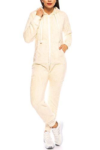 Teddyfleece Teddyfell Jumpsuit flauschig und kuschelig One Piece Overall warm (Beige, L)
