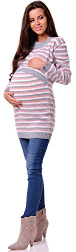 Be Mammy Damen Umstandspullover mit Stillfunktion BESE490(Grau/Puderrosa, S/M)