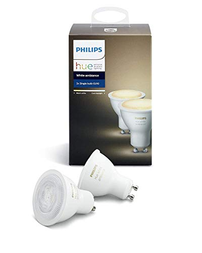Philips Hue Pack 2 Bombillas Inteligentes LED GU10, 5.5W, Luz Blanca Cálida...
