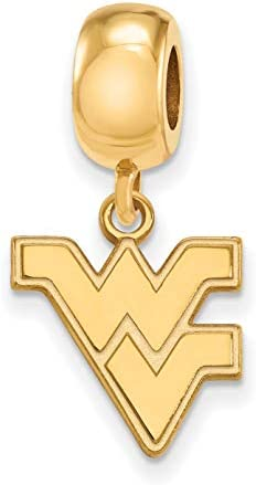 West Virginia University Mountaineers Flying WV Letters Dangle Charm Bead in Gold Plated Sterling product image