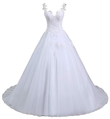 Romantic-Fashion Brautkleid Hochzeitskleid Weiß Modell W101 A-Linie Stickerei Träger Satin Organza DE Größe 44