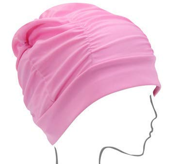 Ucocoon Superior Polyester Cloth Fabric Swimming Cap High Elasticity Swimming Cap for Long Hair Short Hair Woman Girls Men Kids One Size Hat (Pink)
