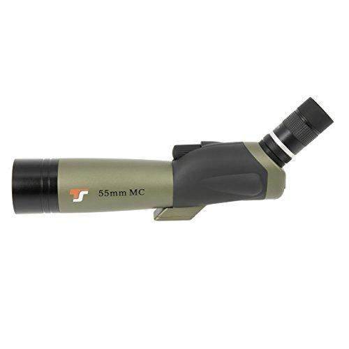 TS-Optics Zoom Spektiv 18-54x55 für Sportschützen Vogelbeobachtung mit Stativ und Tasche, mehrfach vollvergütete Optik spritzwasserdicht. Tssp55z