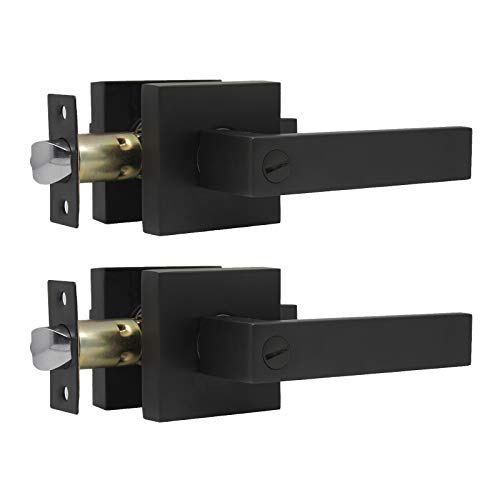 KNOBWELL 2 Pack Heavy Duty Privacy Door Lever Door Handle(Thumb Turn Inside Lock) for Bedroom or Bathroom with A Matte Black Finish, Left or Right Handing 2.07 lb One Lever