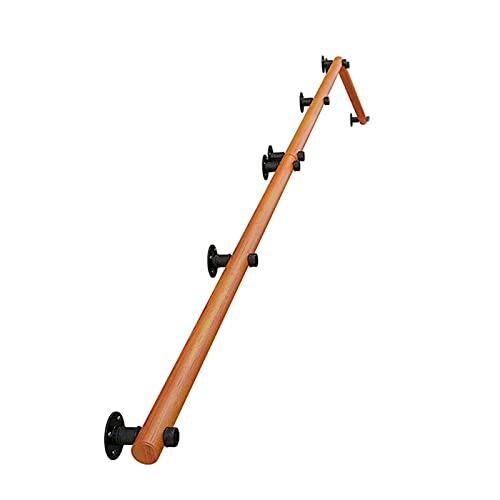 Pasamanos de la escalera de madera de 1 pies-20 pies de pino, soportes de acero inoxidable, barras de soporte de seguridad de corredor ancianos, pasamanos antideslizantes para kindergarten (Tamaño: 1F