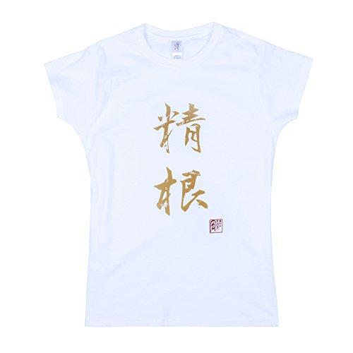 Strand Clothing Japonais pour Homme – Seikon/Knabstrupper – Calligraphie Japonaise Imprimé pour Femme pour Femme T pour Homme – Blanc - Blanc - Medium