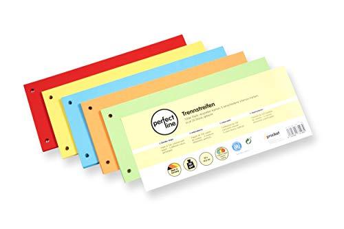 perfect line 100 pezzi divisori di carta, divisori in 5 colori intensi, divisori in colori assortiti, carte da 180 g/m2, linguette colorate per una perfetta separazione della cartella DIN A4