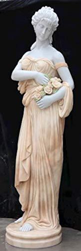 Casa Padrino Escultura de decoración de mármol Art Nouveau Dama con Flores Blanco/Beige 40 x 40 x A. 192 cm - Estatua de decoración de jardín - Figura de decoración de terraza