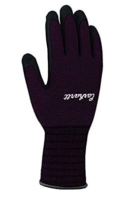 Carhartt Women's All Purpose Nitrile Grip Glove, Deep Wine, S