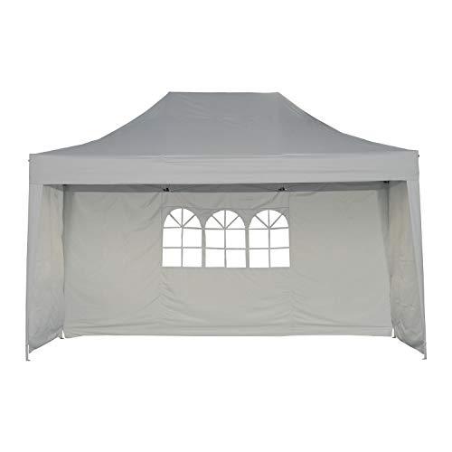 Outsunny Faltpavillon Pavillon Festzelt Faltzelt Partyzelt mit 3 x Seitenwand wetterfest Zelt Metall + Oxford Weiß 4,5x3x3,2m