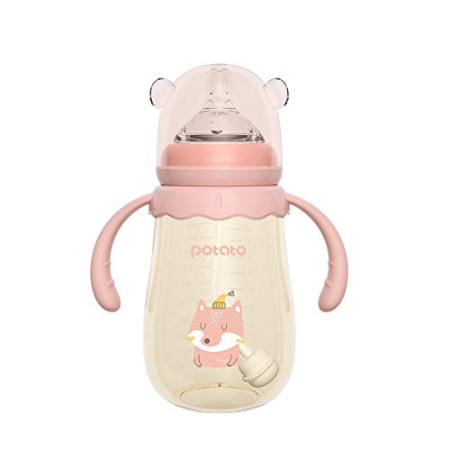 Save %32 Now! POTATO Baby Feeding Bottle 10 oz Anti-Colic PPSU Bottles with Silicone Nipples Toddler Bottles,Pink