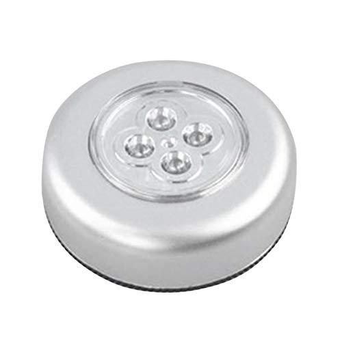 4 Control de luz nocturna de LED Lámpara redonda Debajo del gabinete Armario Empuje Palo En la lámpara Hogar Cocina Dormitorio Uso del automóvil - Plateado