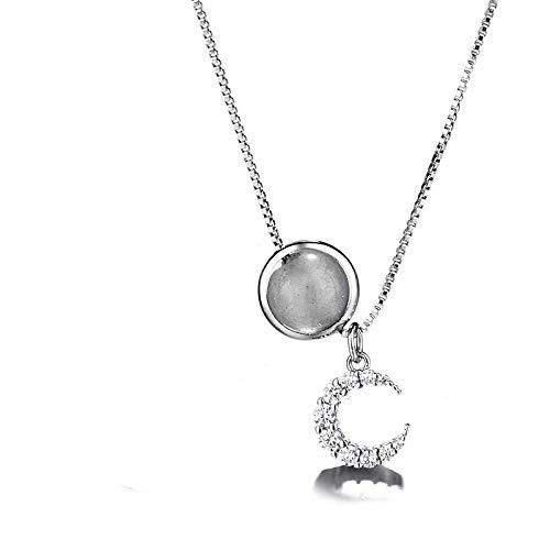 ZYLL Versione Coreana Femminile della personalità Flash Drill Moon Collarbone Chain Collana Semplice da Studente Temperamento Moonlight Stone Unicorn