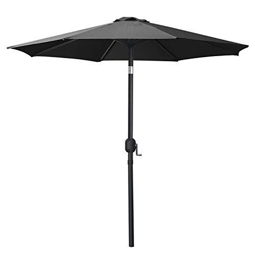 MasterCanopy Garden Patio Parasol Outdoor Fe-Al Market Table Parasol Umbrella with 8 Sturdy Ribs(2.3M, Dark Grey)