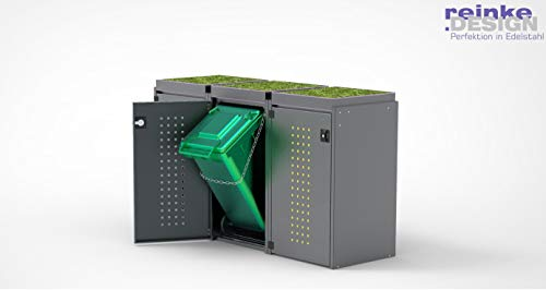 reinkedesign Mülltonnenbox Boxxi mit Pultdach aus Aluminium in Anthrazit RAL 7016 als Bausatz (3 x 240l, Pflanzwanne)