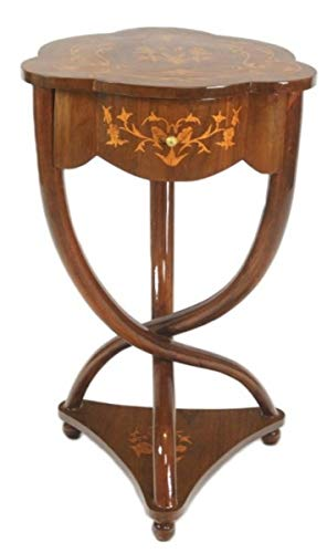 Casa Padrino Biedermeier Schubladen Schrank Mahagoni Intarsien - Handgefertigt aus Massivholz - Nachtschrank Nachttisch Kommode