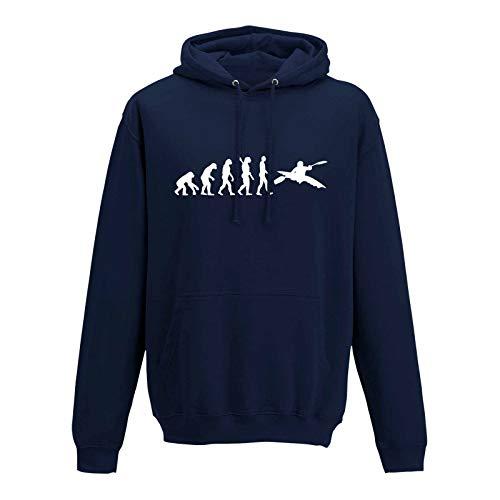 Jimmys Textilfactory Hoodie Evolution Kajak Kanadier Wassersport Kanu Club 10 Farben Herren XS - 5XL Paddel Poot Kanuwandern Verein Urlaub Wildwasser Ruderboot, Größe:L, Farbe:Navy - Logo Weiss