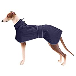 Morezi Greyhound Winter Coat, Whippet Coat with Padded Fleece Lining, Water Resistant Dog Jacket with Adjustable Bands and Reflective