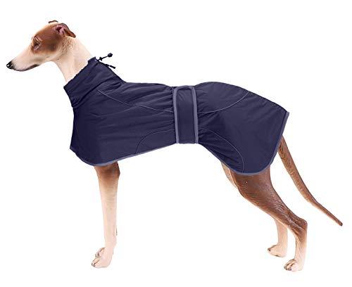 Geyecete Abrigo de invierno para perro con forro polar cálido, ropa de perro al aire libre con bandas ajustables, ropa para perro mediano y grande, galgo-azul marino XXXL