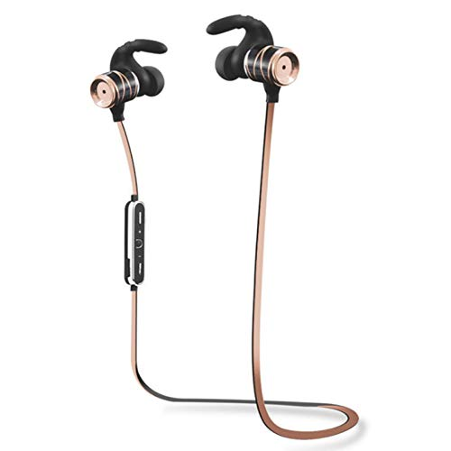 Wsaman Deportivos Auriculares,Auricular Bluetooth Inalámbrico Negocio con Micrófono Resistente al Agua Impermeables para Deportes Oficina en Casa Trabajo,Oro