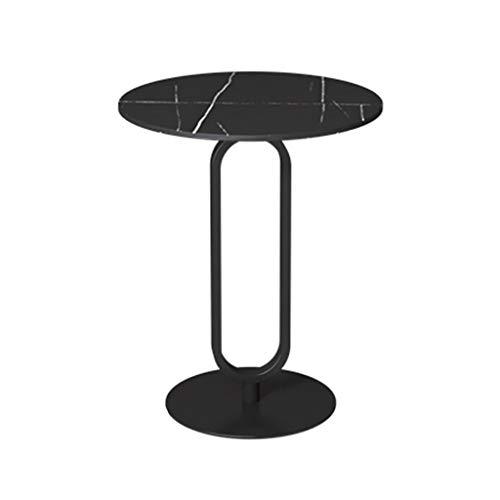 YAQ-Muebles de oficina Ronda Final Tablas, mármol y hierro Marco Superior Art Side sitio de la tabla del hogar y de oficina Café Tablas Diámetro: 40cm / 45cm / 50cm Mesas de pedestal