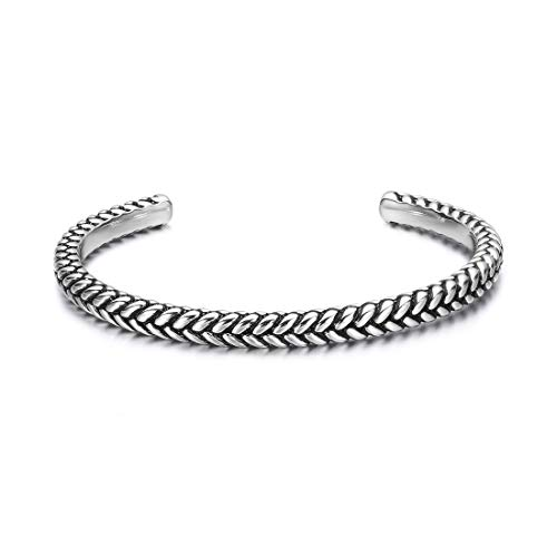 Carleen High Polished 925 Sterling Silver Open Cuff Bracelet Bangle Fine Jewelry for Men Unisex, Size Adjustable As Needed