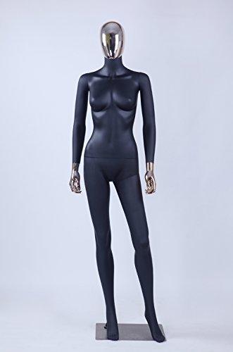 Eurohandisplay schöne abstrakte DF7*8D Frau schwarz Matt lackierte Schaufensterpuppe Galvanik Kopf und Hände Neu Männliche Weiblich (DF7++8D Frau)