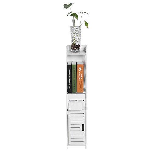 Mobile di stoccaggio in legno per bagno, mobile a colonna bagno, porta carta igienica, 80 x 15,5 x 15 cm, bianco