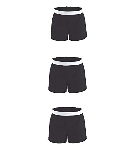 Soffe Girls' Authentic Cheer Short, Black, Small (3-Pack)