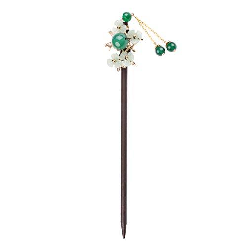 joyMerit Blumen Perlen Haarstab - Haarnadel - Haarstäbchen - aus Holz und Glas - Haarschmuck - A