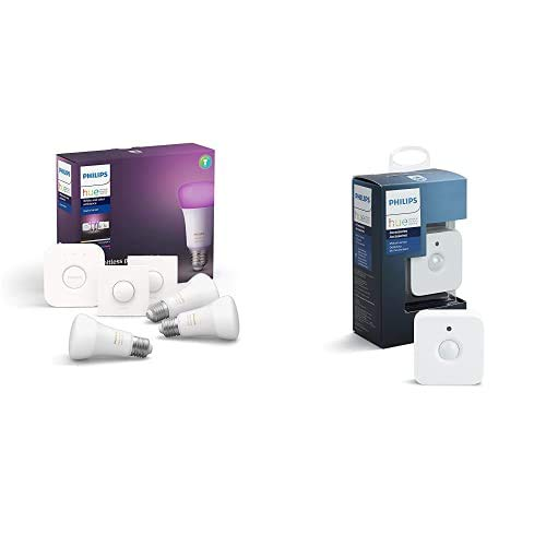 Philips Hue White and Color Ambiance Pack de 3 Bombillas LED inteligentes E27, puente de conexión y 2 Smart Buttons + Philips Hue - Sensor de movimiento controlable vía WiFi